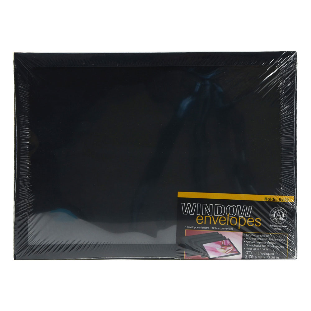 Lineco Window Envelope 9X12 Black 3/Pkg