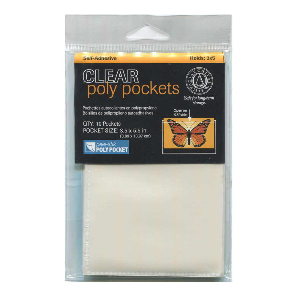 Lineco Peel-Stik Poly Pocket 3.5X5.5In 10/Pkg