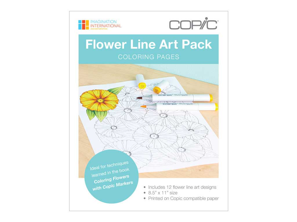 Copic Coloring Found Flowers Line Art