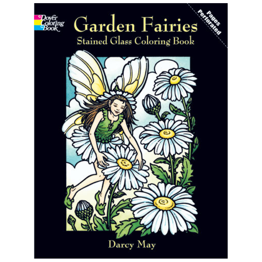Dover Stained Glass Coloring Bk Garden Fairie